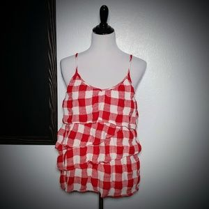 Gingham Checkered Tiered Tank Top Pin Up Gauzy L